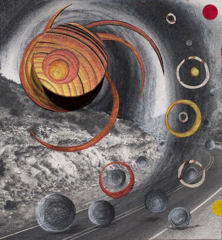 Orbiting Acceptance II, by Courtney Nicole Googe, 2017 Oil-based ink, inkjet, charcoal, Lokta paper, Masa paper, bookboard, glue, plastic, metal, ball-bearings, wood panel 9 x 9.75 x 2.75 inch. Original.  In true surrealist fashion, Courtney Nicole