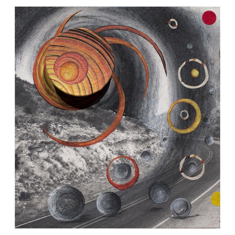 Orbiting Acceptance II by Courtney Nicole Googe. Charcoal drawing on print.  For Sale 1