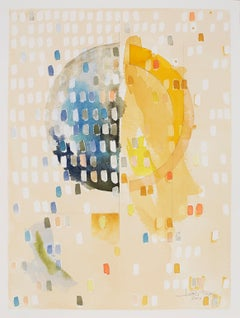 "First Quarter ""Action"" by Lori Fox. Yellows, Blues abstract watercolor on paper"