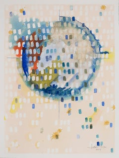 "New Moon ""Renew"" by Lori Fox. Abstract watercolor on paper. Blue & pastel colors"