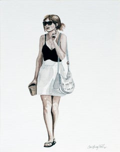 Courtney Incognito 018, Realist gouache painting black & white attire on paper