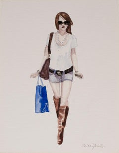 Courtney Incognito 020, Realist painting on paper. Redhead, brown, blue, white