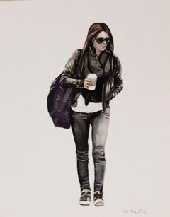 Courtney Incognito 029, Realist painting on paper. Brunette with black jacket