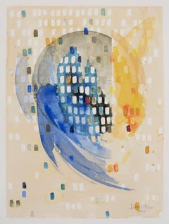 """Waxing Crescent """"Regeneration"""" by Lori Fox. Abstract watercolor on paper. Blue"""