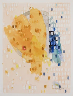 """Waning Gibbous """"Gratitude"""" by Lori Fox. Abstract watercolor on paper. Yellows"""