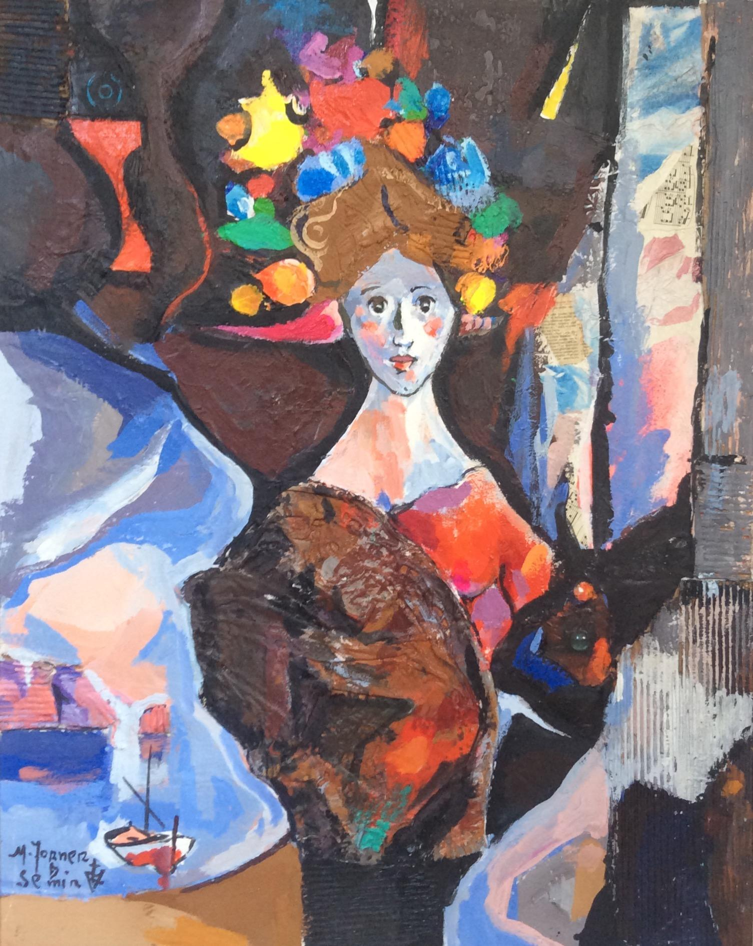 Woman & Boat,  Original Oil & Mixed Media on Canvas by Torner de Semir