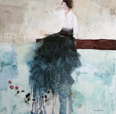 La Connexion, Oil & Mixed Media Painting By French artist Corine Ko