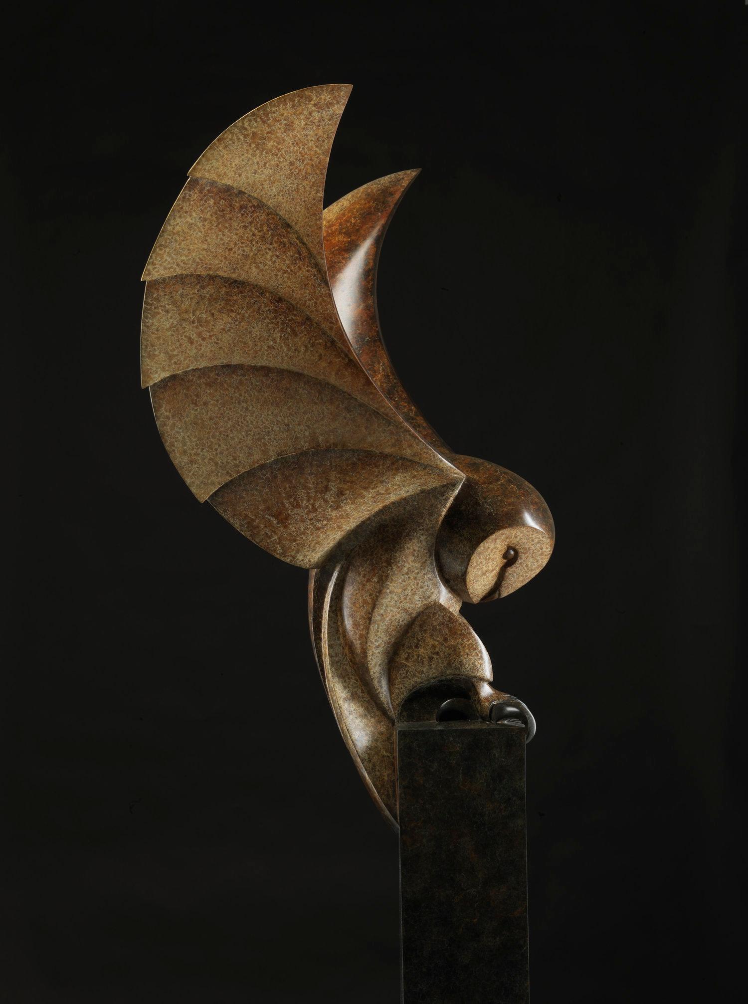 Barn Owl, Cast Bronze Sculpture by British artist Paul Harvey