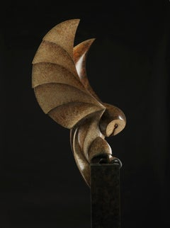 Barn Owl, Cast Bronze Sculpture by British artist Paul Harvey