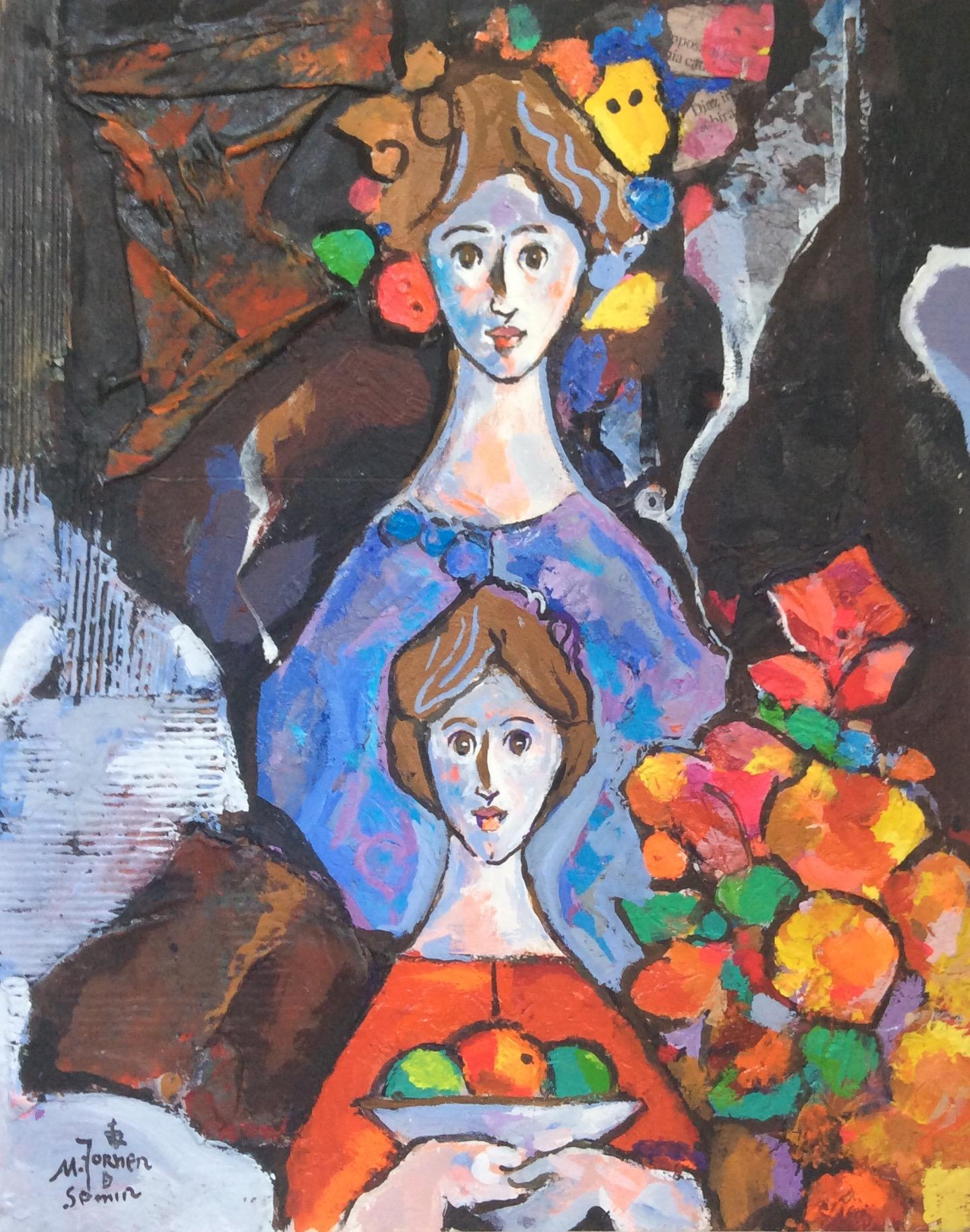 Dos Mujers,  Original Oil & Mixed Media on Canvas by Torner de Semir