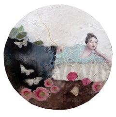 Melancholia , Oil & Mixed Media Painting By French Artist Corine Ko