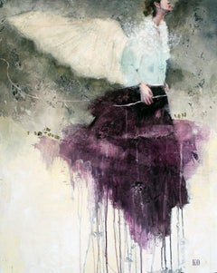 Une Presence, Oil & Mixed Media Painting By French Artist Corine Ko