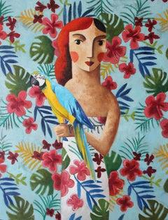 Blue Guacamayo, Original Oil Painting by Spanish Artist Didier Lourenço
