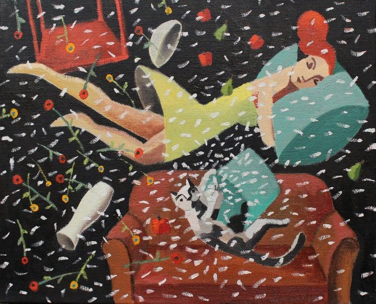 Dream Pillow, Original Oil Painting by Spanish Artist Didier Lourenço - Black Figurative Painting by Didier Lourenço