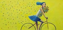 Yellow & Petals, Original Oil Painting by Spanish Artist Didier Lourenço