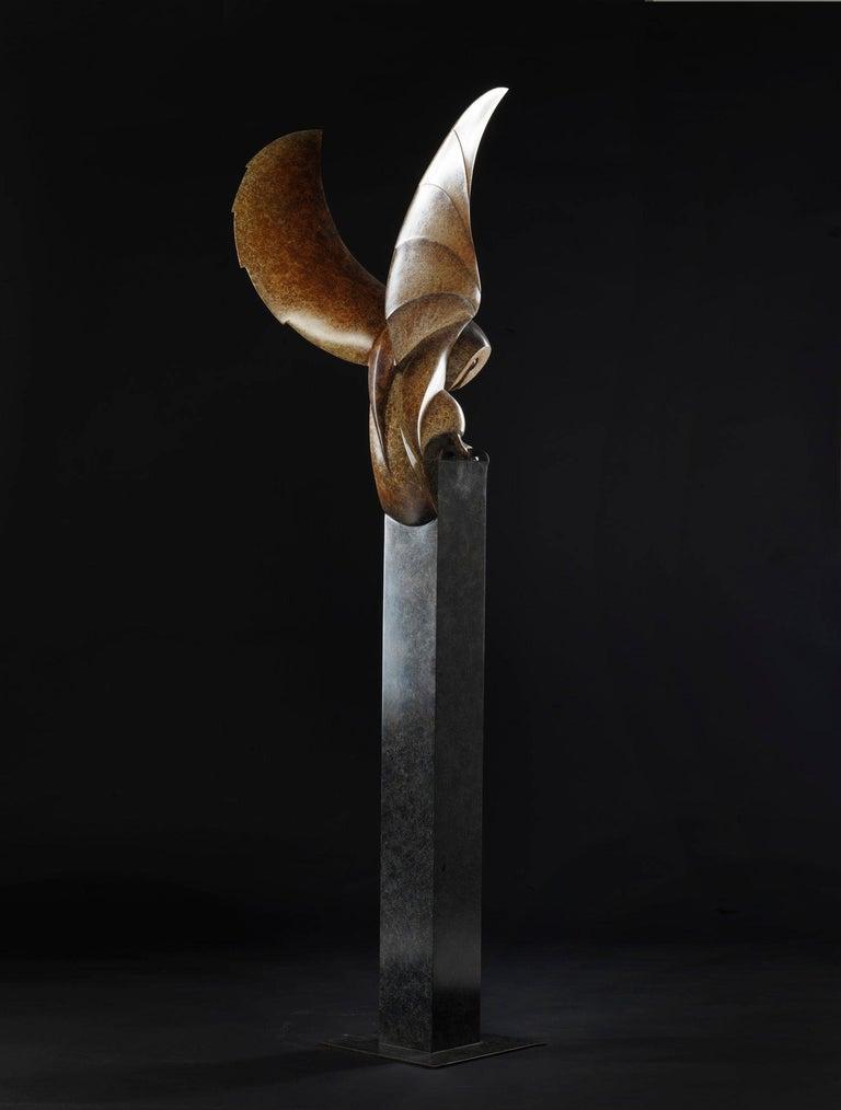 Barn Owl, Cast Bronze Sculpture by British artist Paul Harvey For Sale 4