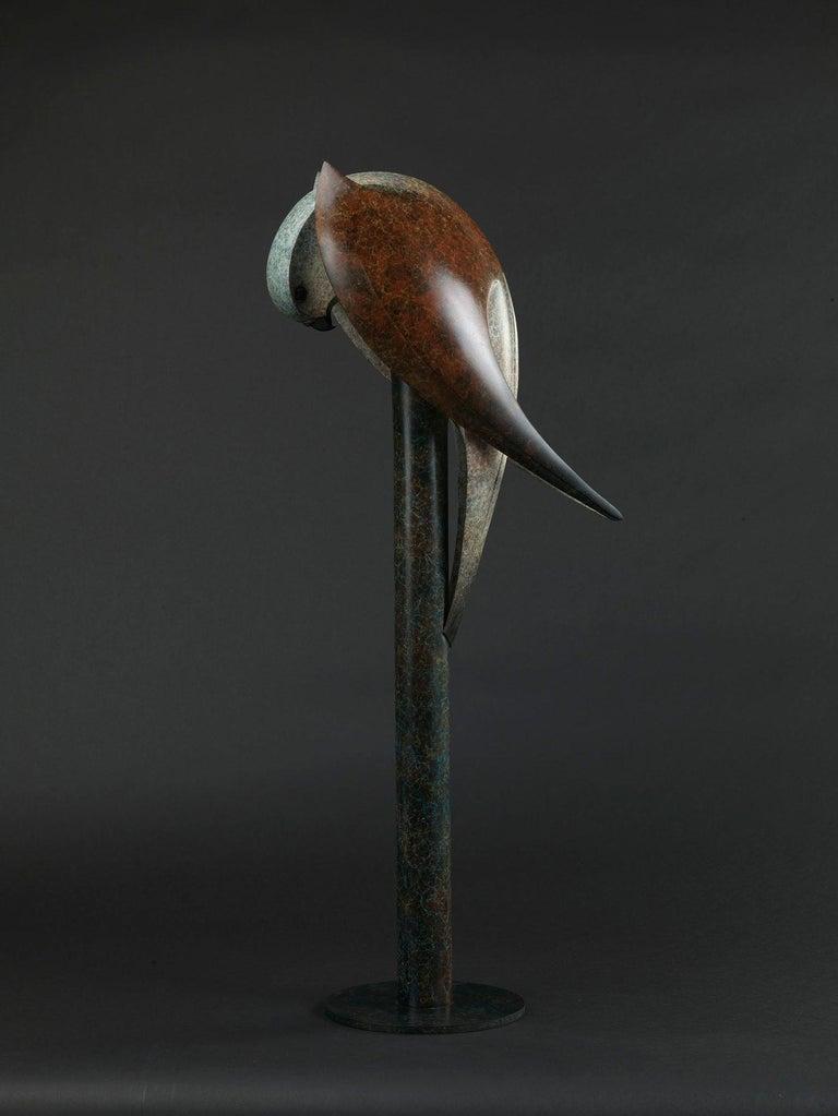 Kestrel, Cast Bronze Sculpture by British artist Paul Harvey - Gold Figurative Sculpture by Paul Harvey