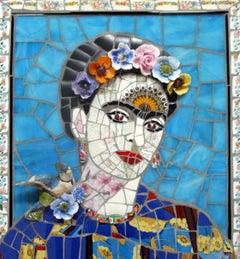 Frida Kahlo No.3, Recycled ceramic mosaic by English Artist Susan Elliott