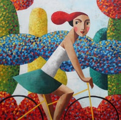 Biker Blue, Original Oil Painting by Spanish Artist Didier Lourenço