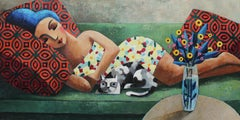 Green Sofa, Original Oil Painting by Spanish Artist Didier Lourenço