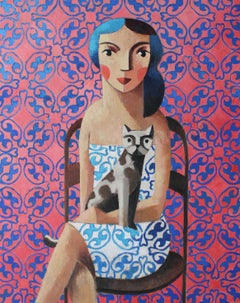 Woman & Cat, Original Oil Painting by Spanish Artist Didier Lourenço