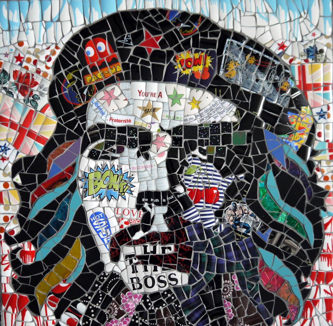 Che, Recycled ceramic mosaic by English Artist Susan Elliott