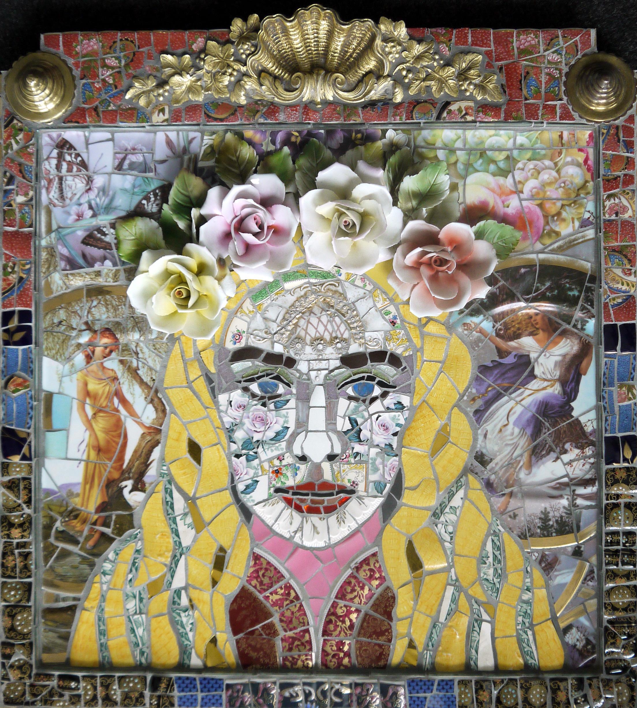 Goddess, Recycled ceramic mosaic by English Artist Susan Elliott