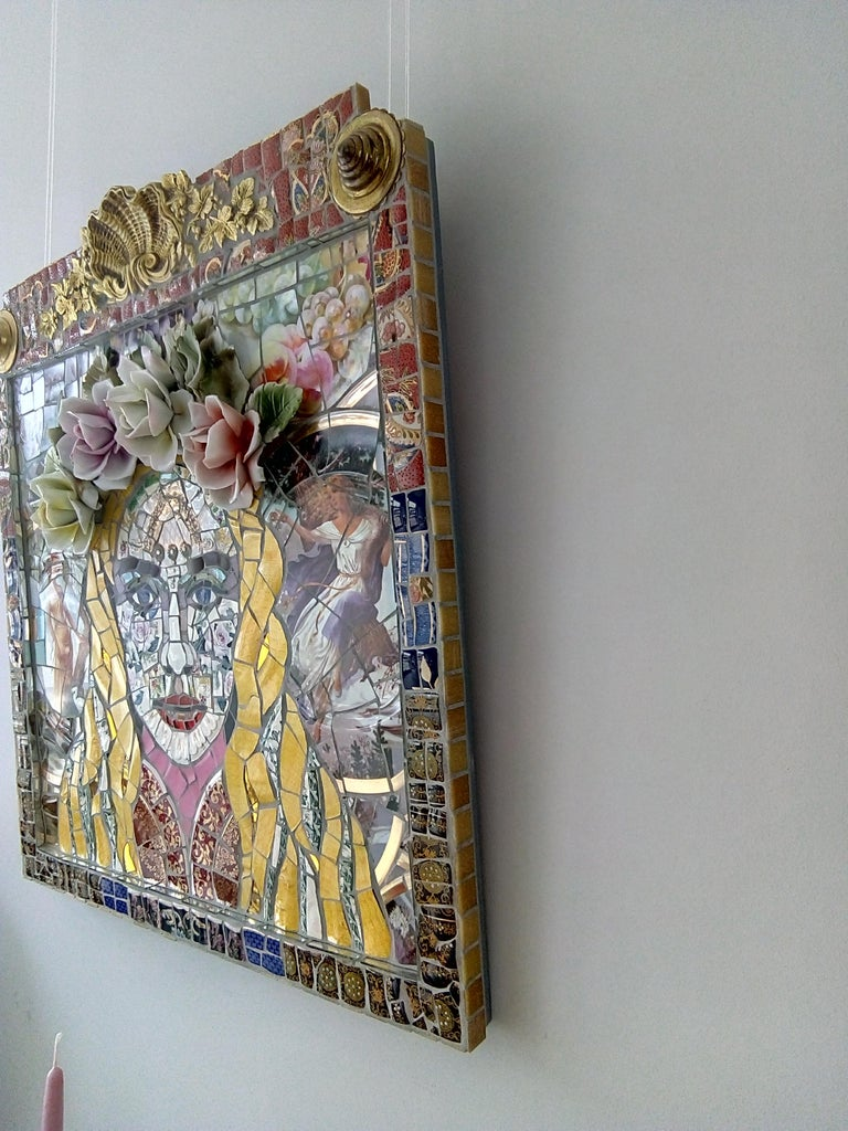 Goddess, Recycled ceramic mosaic by English Artist Susan Elliott - Pop Art Mixed Media Art by Susan Elliott