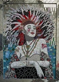 Show Girl, Gypsy Rose, Recycled ceramic mosaic by English Artist Susan Elliott
