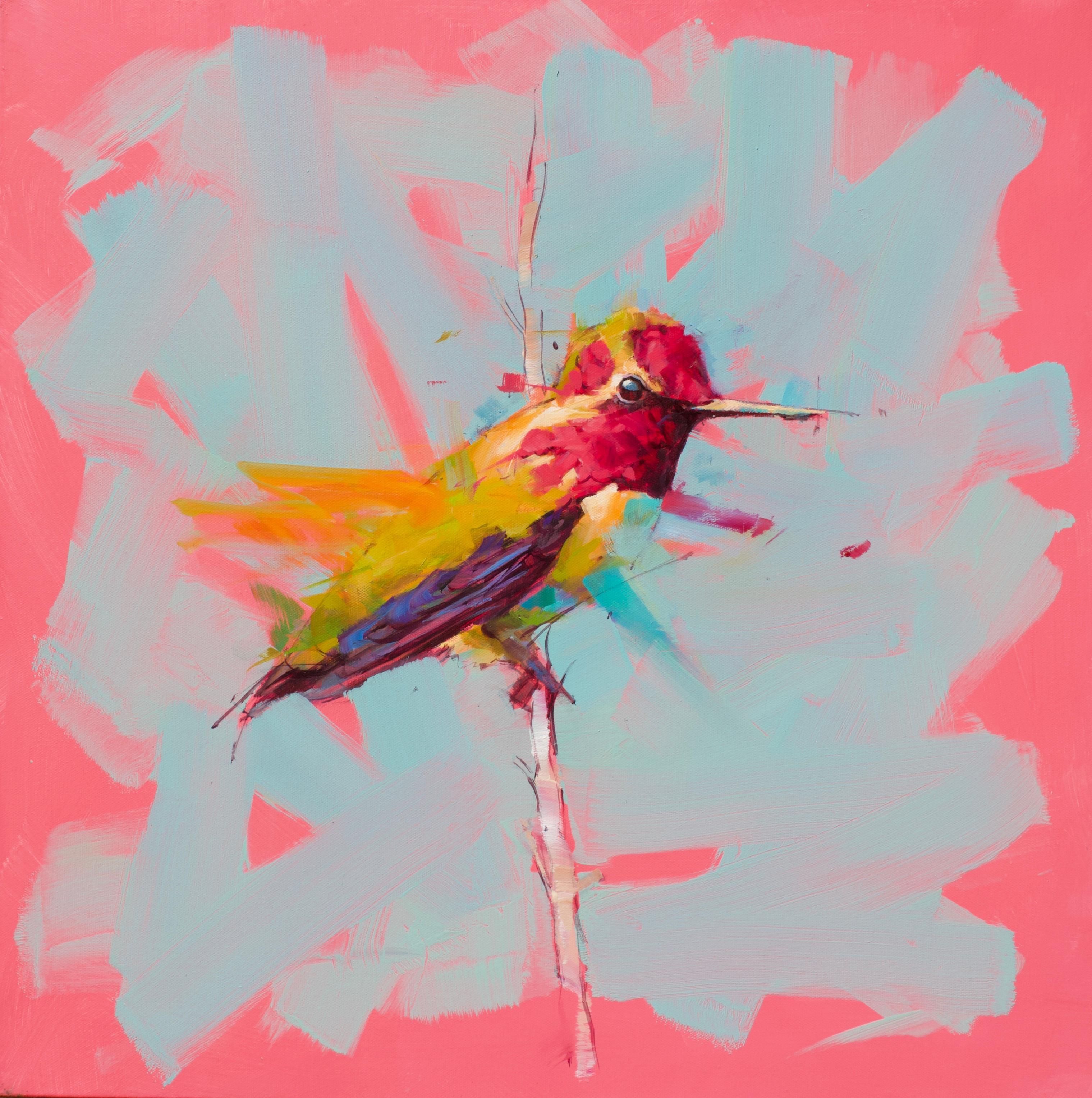 Humming Bird No.2- Pink - Oil painting by  English Artist Jamel Akib
