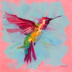 Humming Bird No.3- Pink - Oil painting by  English Artist Jamel Akib