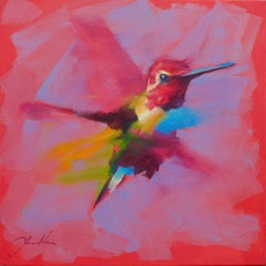Small Humming Bird- Pink - Oil painting by  English Artist Jamel Akib
