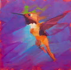 Small Humming Bird- Purple - Oil painting by  English Artist Jamel Akib