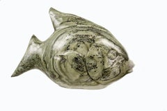 Fish. Stone Sculpture. Butterjade Stone. Polished.  Green /Teal fossils embedded