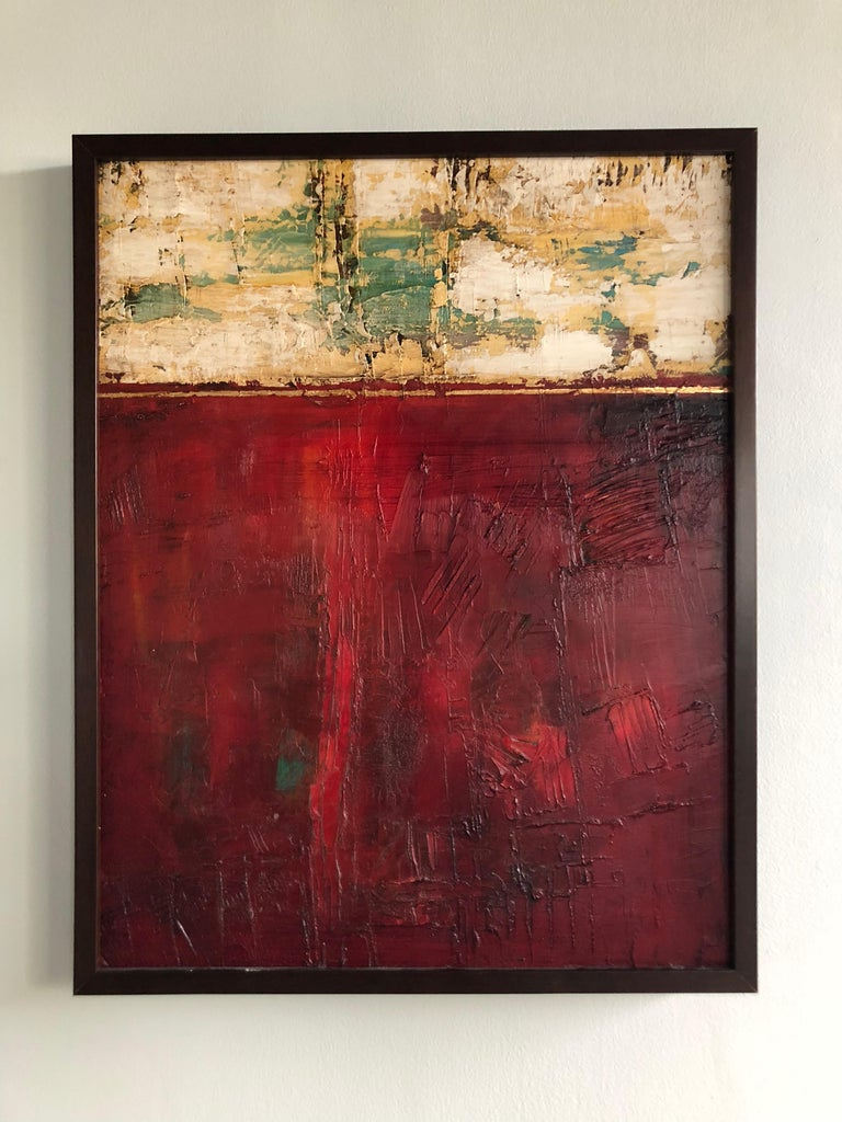 Red Abstract 1 - Brown Abstract Painting by Tige Reeve