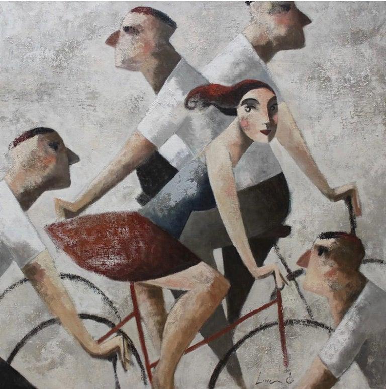 Didier Lourenço Figurative Painting - Ciclistas (framed)