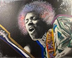 """Jammin"" Jimi Hendrix Fine Art Print on Canvas Edt 11 of 50 by Jacqlyn Burnett"