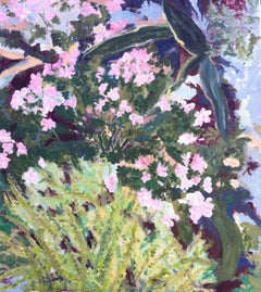 Pink Azaleas and Ferns - 21st Century Contemporary Landscape Oil painting