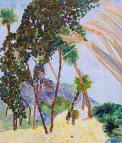 Contemporary Oil Desert Blue Palm Fruit and Violet Hills - Landscape Painting