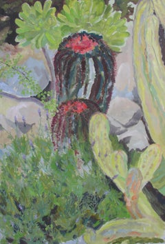 Mediterranean Cactus - Contemporary, 21st Century, Oil, Landscape Painting