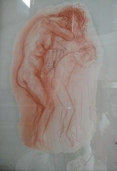 Petra Temple - 21st Century Sanguine Drawing on Paper Figurative Nude
