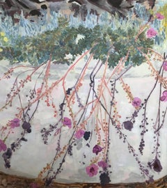 white and violet 21st Century impressionist Oil: Succulents Floral and Palm Base