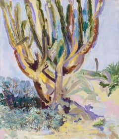 Contemporary Desert Landscape Cactus Oil painting sage, yellow light blue