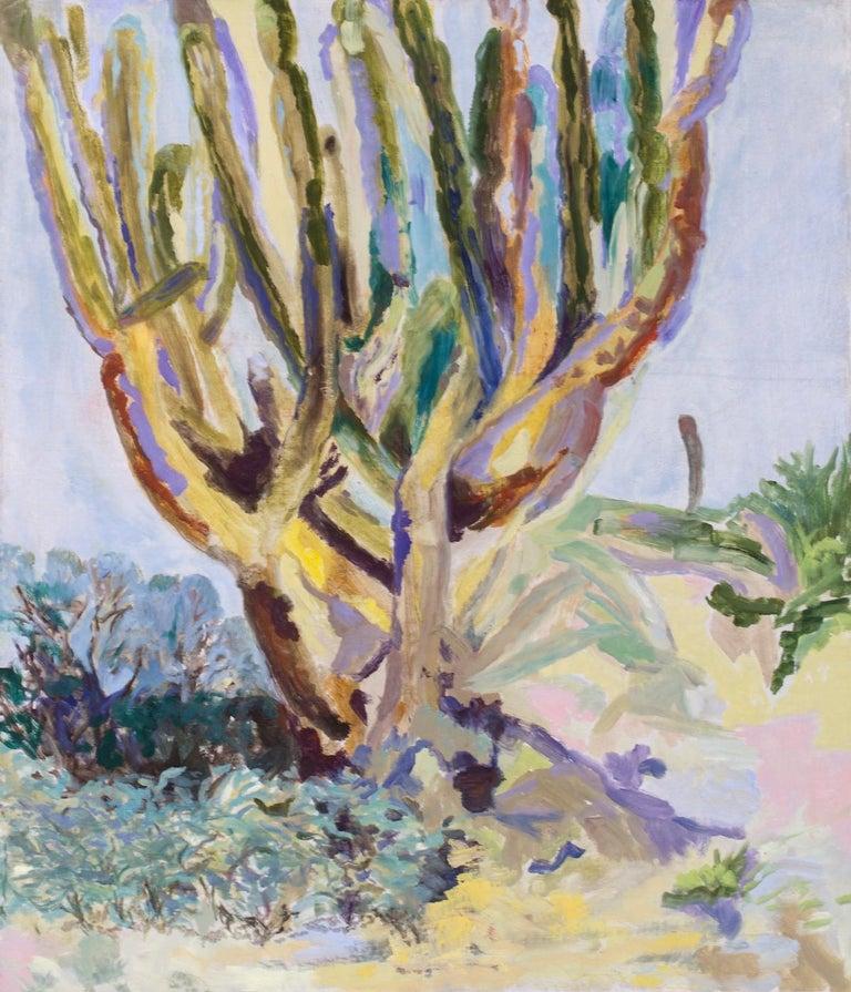 Gianne de Genevraye Landscape Painting - Contemporary Desert Landscape Cactus Oil painting sage, yellow light blue