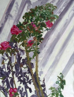 Contemporary Landscape Violet Shadow and Red Roses Abstract Oil Painting