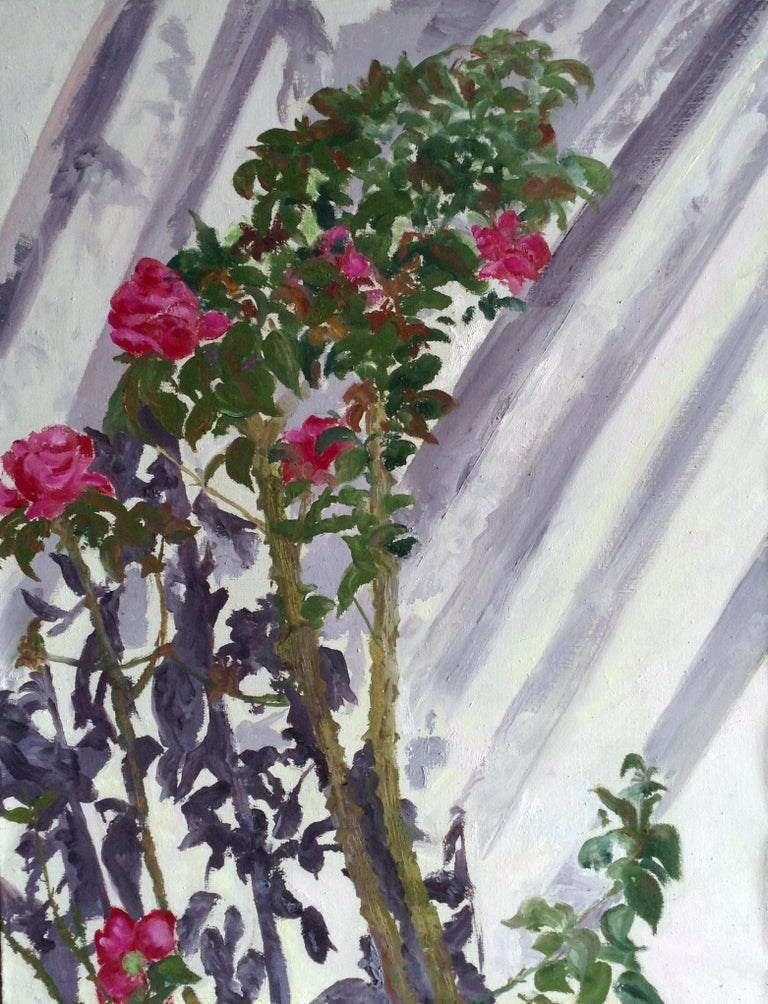 Gianne de Genevraye Landscape Painting - Contemporary Landscape Violet Shadow and Red Roses Abstract Oil Painting