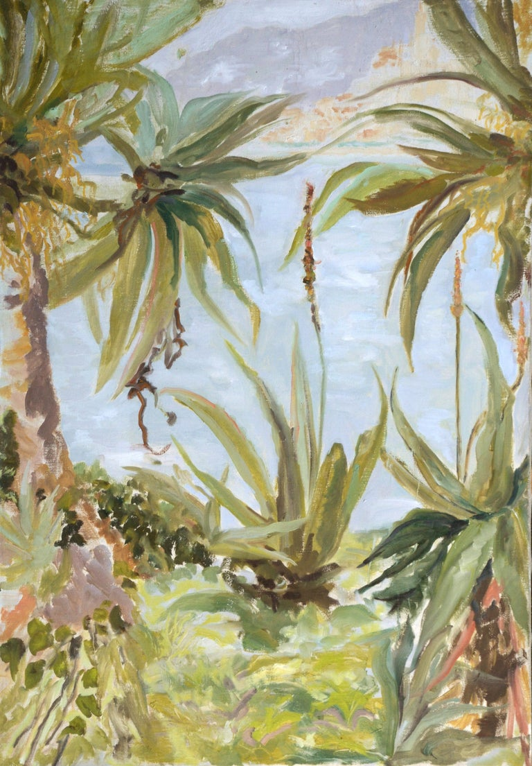 Contemporary Landscape Mediterranean Green & Coral Aloes and the City of Menton  This piece was painted at the Maria Serena Garden, which is on the border between France and Italy, on the French side, overlooking the Mediterranean.  Charles Garnier,
