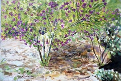 Native Sweet Pea- Contemporary Oil Nature California Landscape  Green/Violet