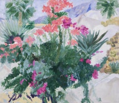 Magenta and Pink Bougainvillea and Green Agave - 21st Century Landscape Painting