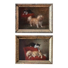 Genre scene couple of paintings with cat and dog playing